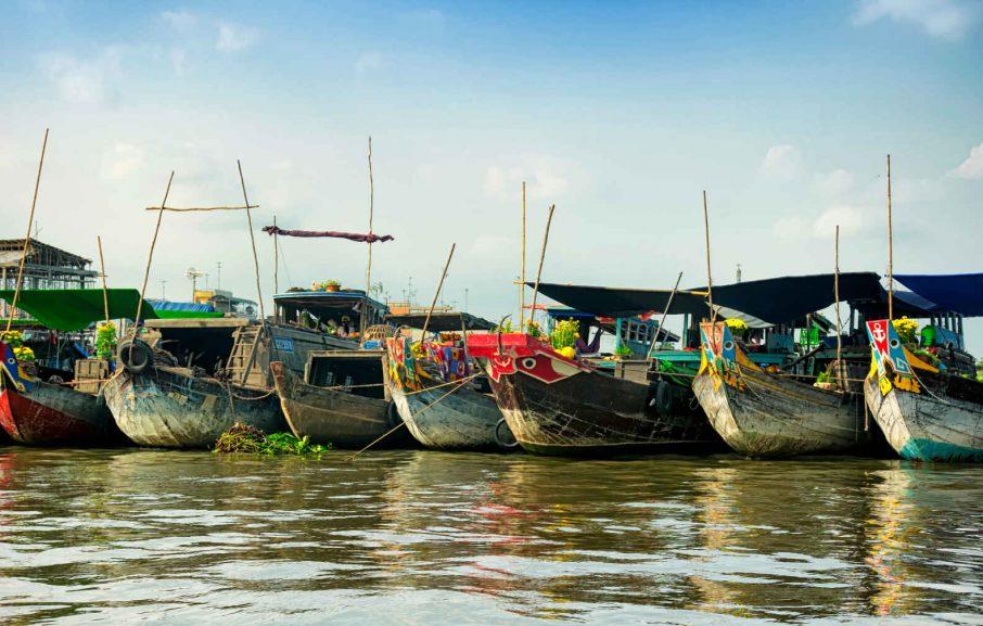 Bateaux, marché flottant, Cai Be, Vietnam