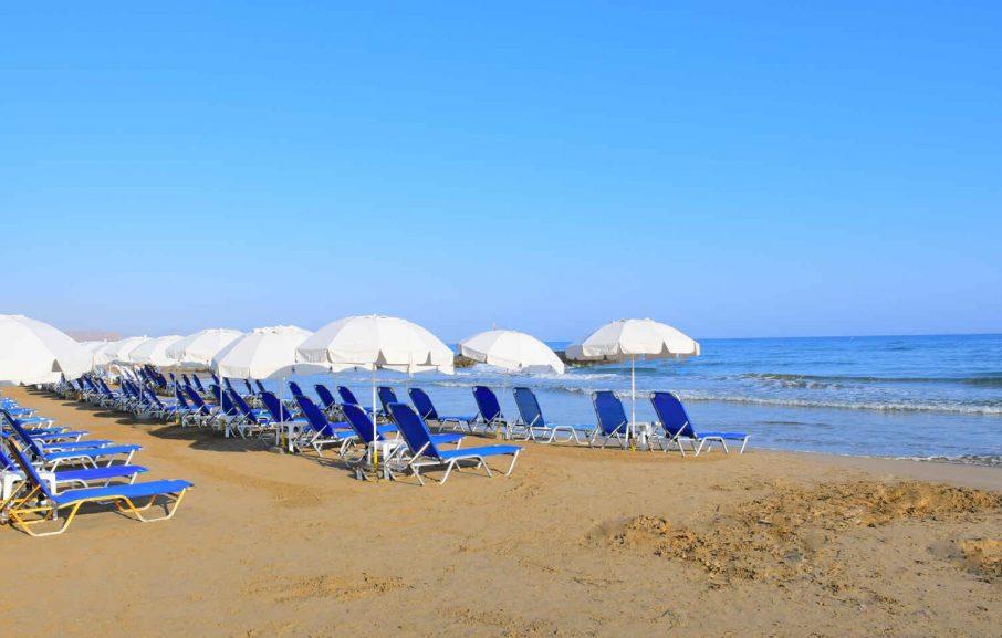 Plage, Hôtel Magda, Crète, Grèce.