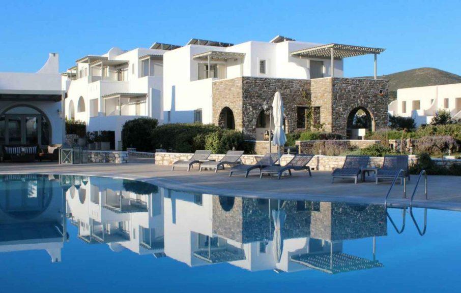 Vue extérieure, St Andrea resort, Paros, Grèce.