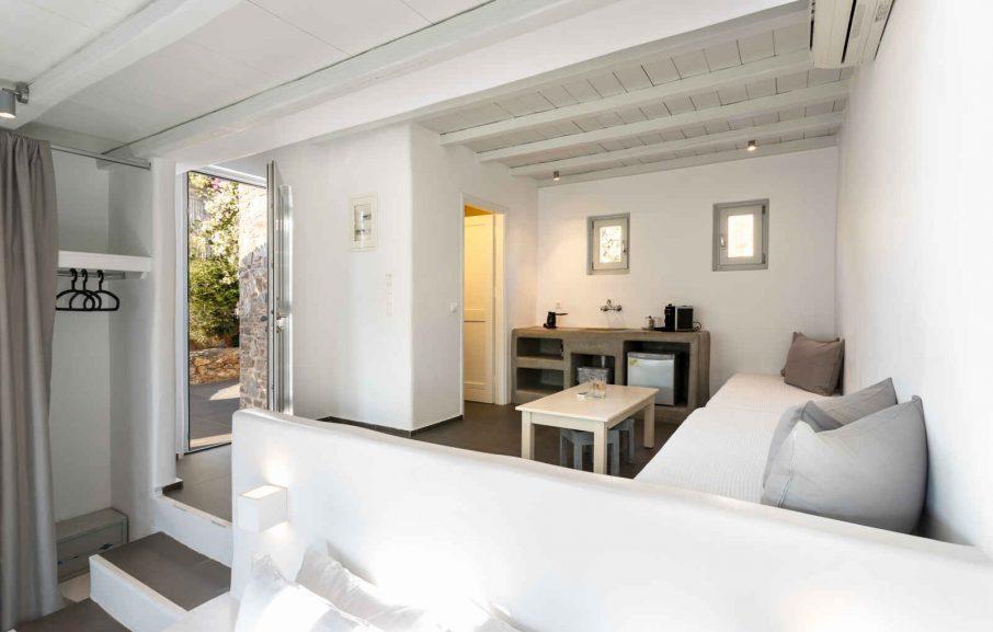 Coin salon, Appartement, Hôtel Rizes, Serifos, Grèce