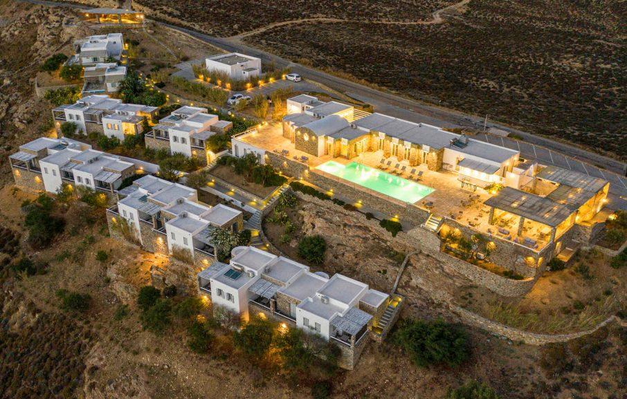 Vue aérienne, Hôtel Rizes, Serifos, Grèce
