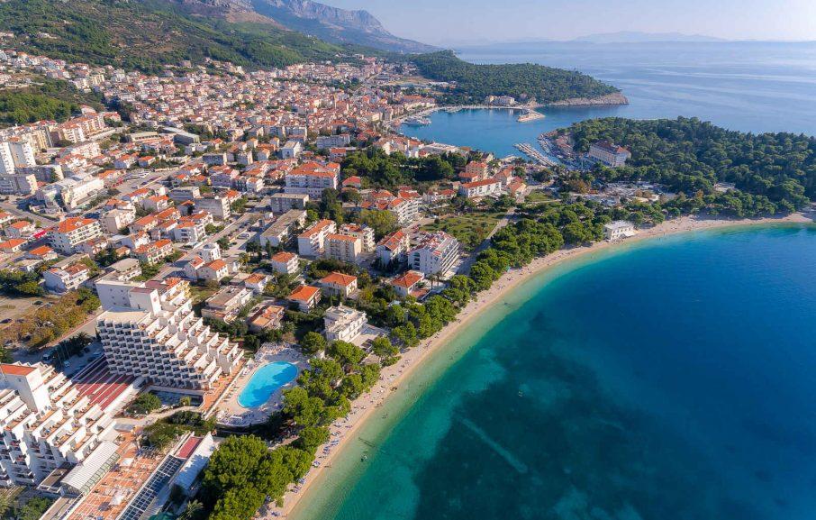 Vue aérienne, Valamar Meteor Hotel, Makarska, Croatie