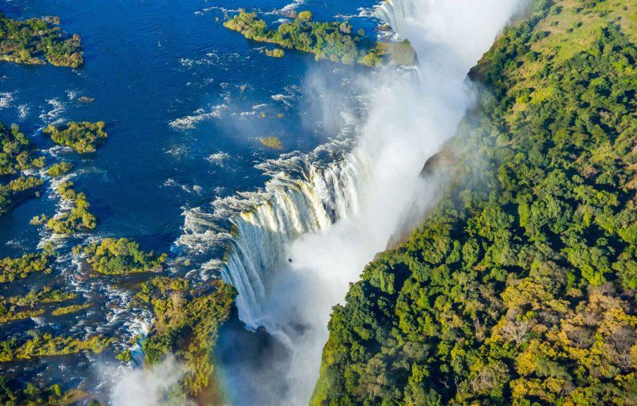 Vue aérienne, Chutes Victoria, Zimbabwe
