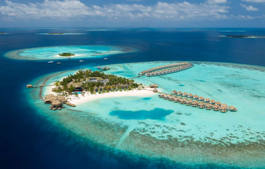 Vue aérienne, Hotel LTI Maafushivaru, Southern Ari Atoll, Maldives
